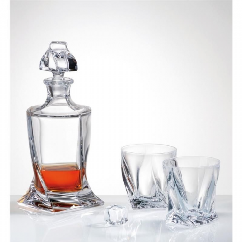 Quadro Crystal Decanter 500 ml & 2 Glass Set